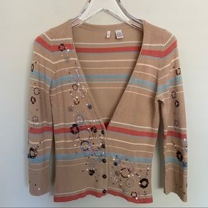 MOTH Striped Beaded Embroidered Cardigan Sweater